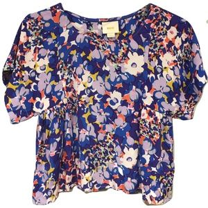 Anthropologie Maeve Milla Blouse Blue Floral SMALL